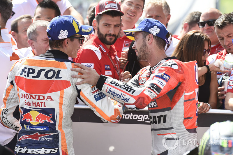 Segundo clasificado Marc Marquez, Repsol Honda Team, tercer clasificado Andrea Dovizioso, Ducati Team