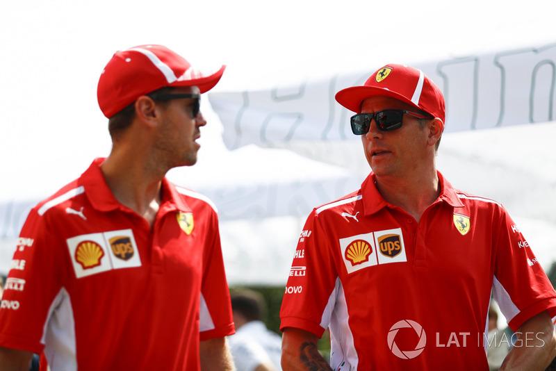 Kimi Raikkonen, Ferrari, and Sebastian Vettel, Ferrari