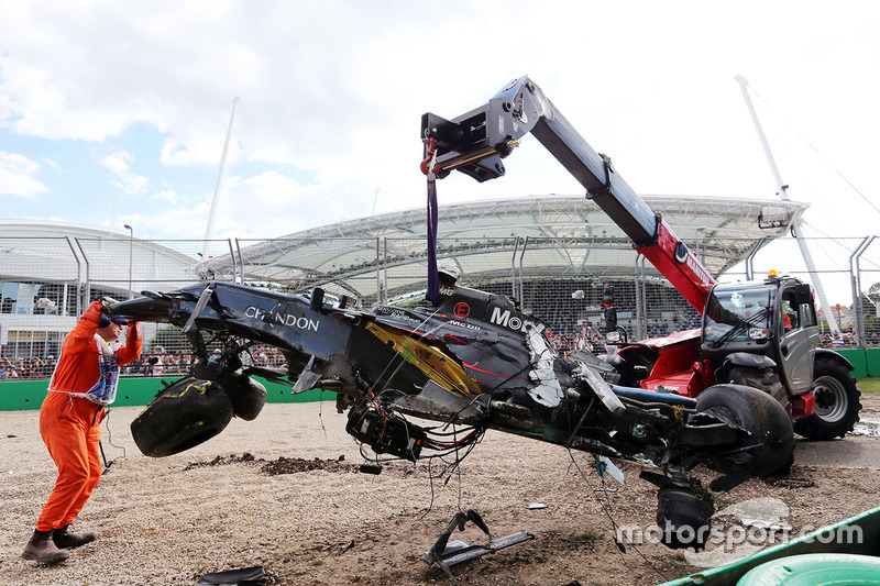 The safety structure of the McLaren remains intact