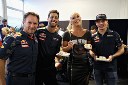 Skier Lindsey Vonn is given a birthday cake by Daniel Ricciardo, Red Bull Racing, Max Verstappen, Re