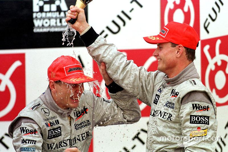 1. Mika Hakkinen, McLaren; 3. David Coulthard, McLaren