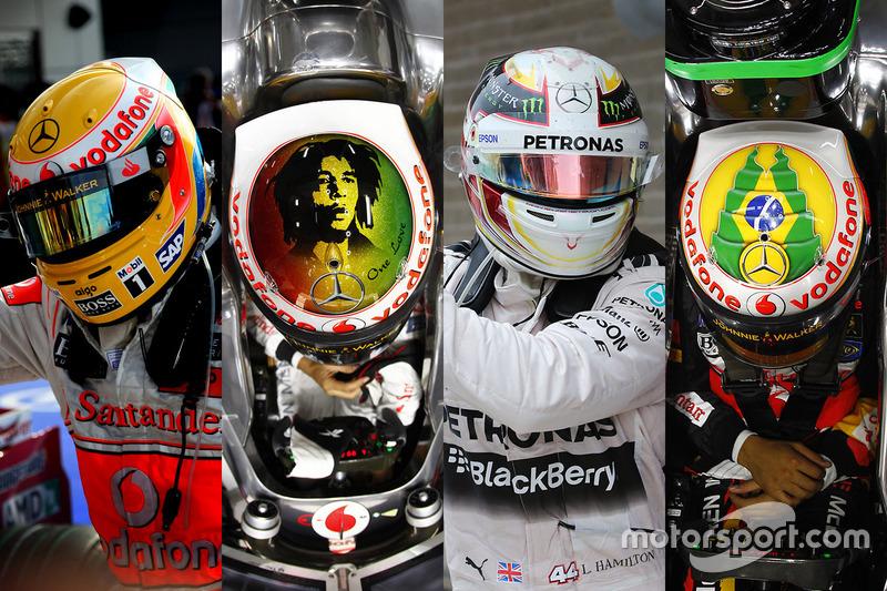 Los cascos de Lewis Hamilton