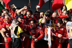 Ferrari celebrate in parc ferme
