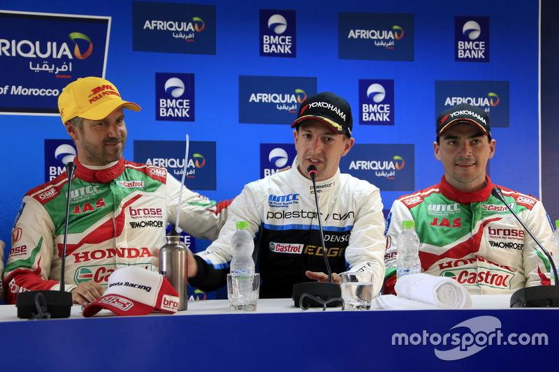 Tiago Monteiro, Honda Racing Team JAS, Honda Civic WTCC; Nestor Girolami, Polestar Cyan Racing, Volv