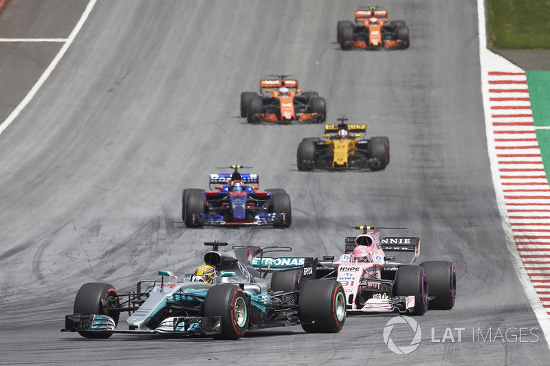 Льюіс Хемілтон, Mercedes AMG F1 W08, Естебан Окон, Sahara Force India F1 VJM10