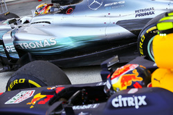 Lewis Hamilton, Mercedes AMG F1 W08, race winner, Max Verstappen, Red Bull Racing RB13, second place