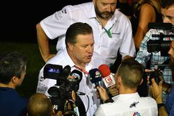 Zak Brown, McLaren Executive Director talks to the media