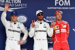 Polesitter Lewis Hamilton, Mercedes AMG F1, second place Valtteri Bottas, Mercedes AMG F1, third place Sebastian Vettel, Ferrari