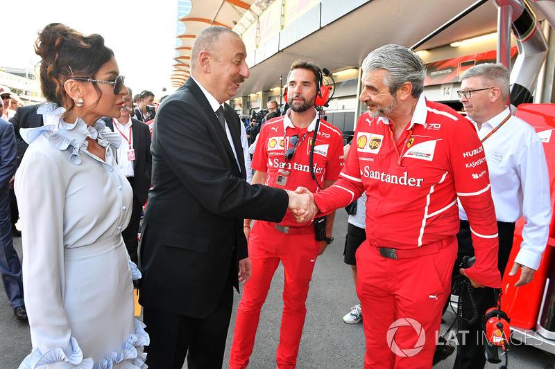Illham Aliyev, Präsident Aserbaidschan, Maurizio Arrivabene, Ferrari-Teamchef