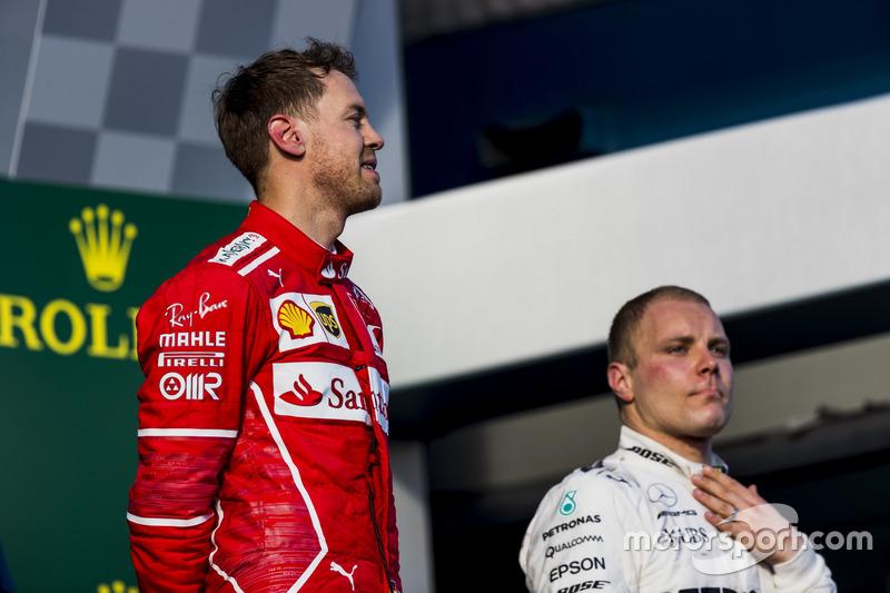 Podium: 1. Sebastian Vettel, Ferrari, 3. Valtteri Bottas, Mercedes AMG