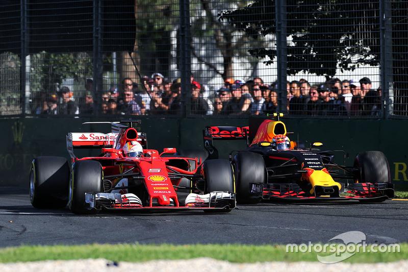 Max Verstappen, Red Bull Racing, RB13; Sebastian Vettel, Ferrari; SF70H