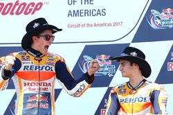 Podium: ganador, Marc Márquez, Repsol Honda Team, tercero, Dani Pedrosa, Repsol Honda Team
