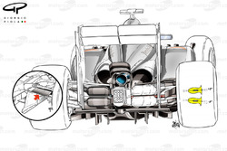 McLaren MP4-29 rear suspension 'blockers' (yellow diagrams show how suspension covers can be angled +/- 5 degrees)