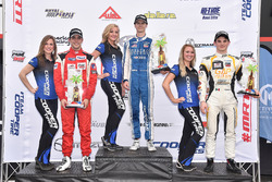 Podium: race winner Colton Herta, Andretti Steinbrenner Racing, second place Santiago Urrutia, Belardi Auto Racing, third place Patricio O'Ward, Team Pelfrey