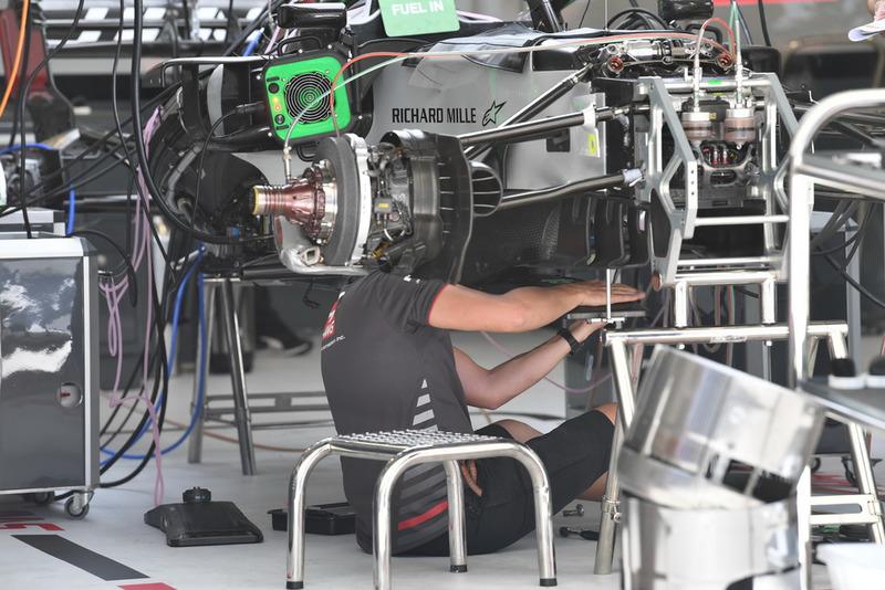 Haas F1 Team VF-18 in the garage