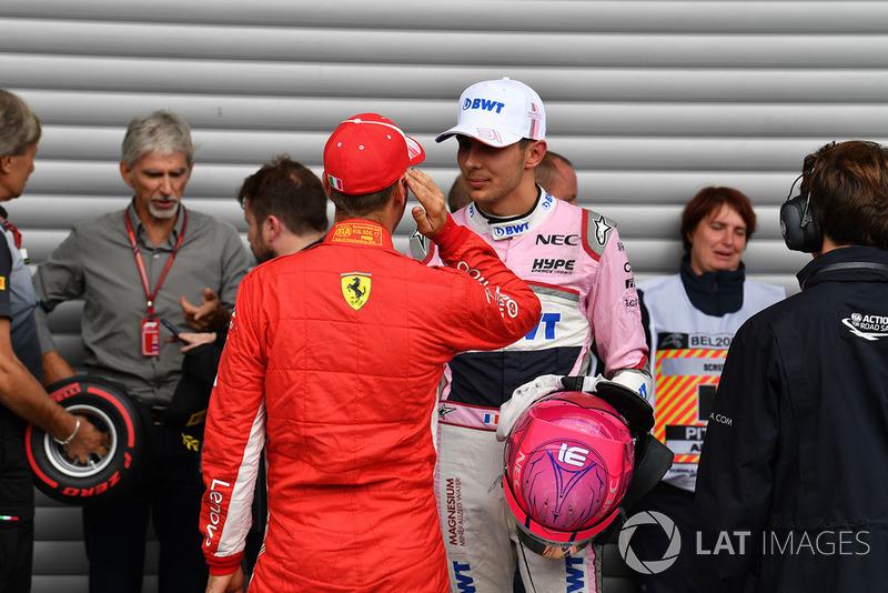 Себастьян Феттель, Ferrari, Естебан Окон, Racing Point Force India F1 Team