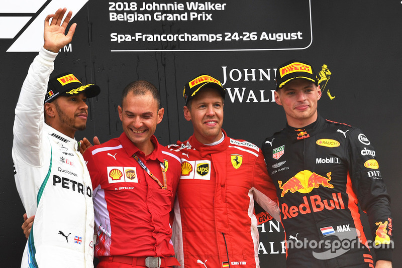 Podio: Sebastian Vettel, Ferrari, Lewis Hamilton, Mercedes AMG F1, Max Verstappen, Red Bull Racing