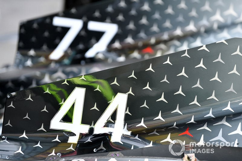 Lewis Hamilton's race number on his Mercedes F1 W11
