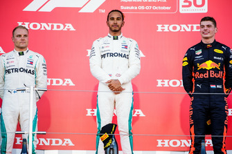 Second place Valtteri Bottas, Mercedes AMG F1, Race winner Lewis Hamilton, Mercedes AMG F1, and Max Verstappen, Third place Red Bull Racing, on the podium