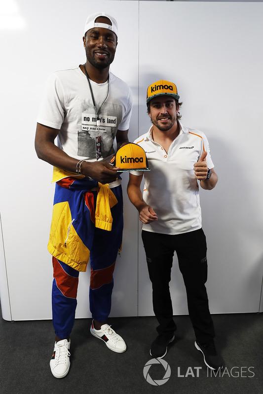 Serge Ibaka, Toronto Raptors NBA player with Fernando Alonso, McLaren.