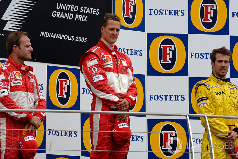 2005: 1. Michael Schumacher, 2. Rubens Barrichello, 3. Tiago Monteiro