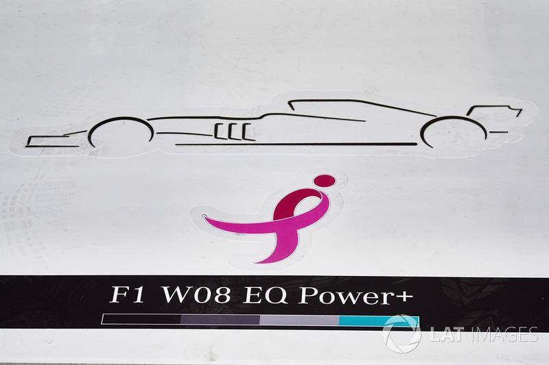 Logo del lazo rosa en el suelo del garaje de Mercedes AMG F1