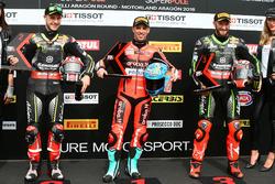 Top 3 after qualifying: Jonathan Rea, Kawasaki Racing, Marco Melandri, Aruba.it Racing-Ducati SBK Team, Tom Sykes, Kawasaki Racing