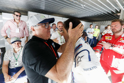 Felipe Massa, Williams, is embraced by his father after his final home grand prix