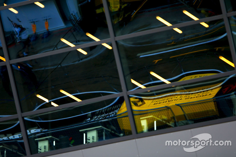 A reflection of the Renault pit wall gantry