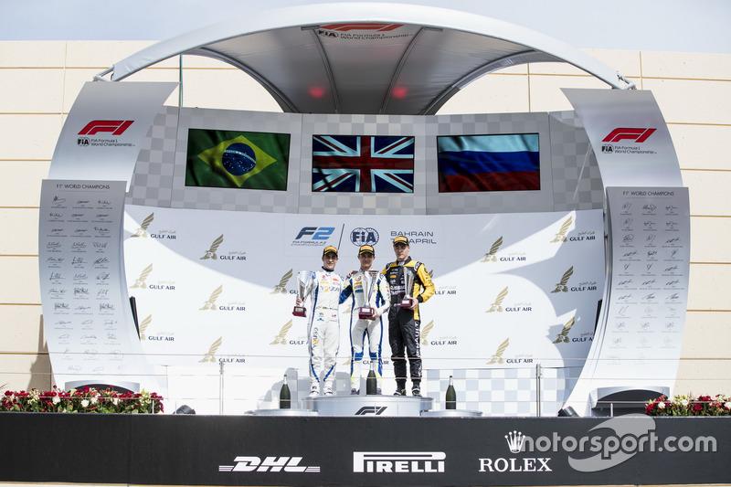 Podium: second place Sergio Sette Camara, Carlin, Race winner Lando Norris, Carlin, third place Artem Markelov, RUSSIAN TIME