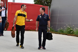 Cyril Abiteboul, Renault Sport F1 Managing Director and Christian Horner, Red Bull Racing Team Princ