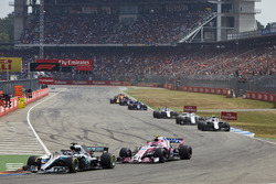 Lewis Hamilton, Mercedes AMG F1 W09, leads Esteban Ocon, Force India VJM11, and Sergey Sirotkin, Williams FW41