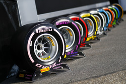 The full range of Pirelli F1 tyres