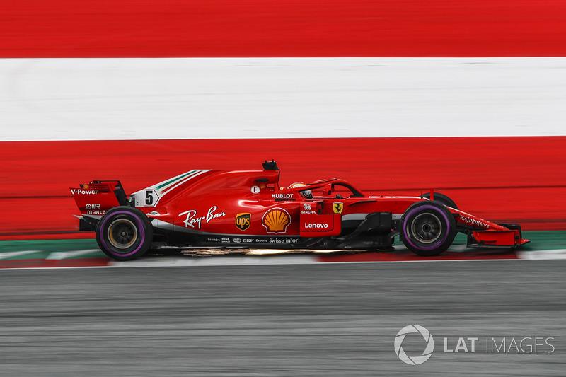 Sebastian Vettel, Ferrari SF71H saca chispas