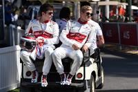 Charles Leclerc, Alfa Romeo Sauber F1 Team and Marcus Ericsson, Alfa Romeo Sauber F1 Team on a buggy