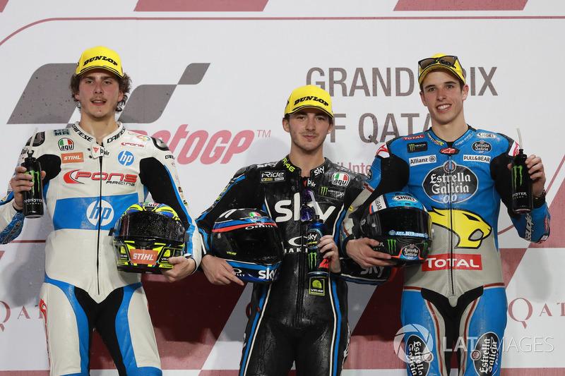 Podium: second place Lorenzo Baldassarri, Pons HP 40, Race winner Francesco Bagnaia, Sky Racing Team VR46, third place Alex Marquez, Marc VDS