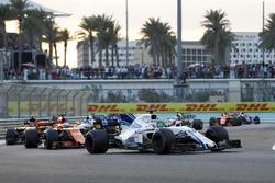 Felipe Massa, Williams FW40 leads Fernando Alonso, McLaren MCL32,  Carlos Sainz Jr., Renault Sport F1 Team RS17 and Lance Stroll, Williams FW40
