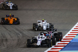 Lance Stroll, Williams FW41 Mercedes, Romain Grosjean, Haas F1 Team VF-18 Ferrari, Charles Leclerc, Sauber C37 Ferrari, and Stoffel Vandoorne, McLaren MCL33 Renault