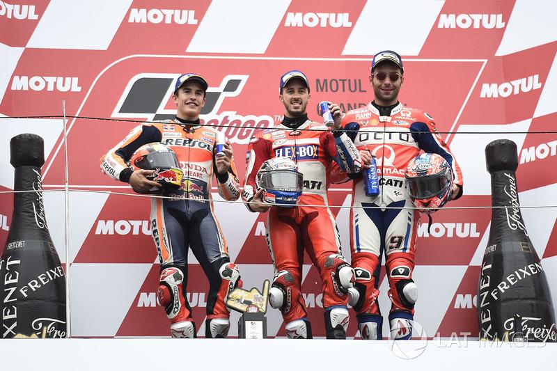 Podio: il vincitore della gara Andrea Dovizioso, Ducati Team, il secondo classificato Marc Marquez, Repsol Honda Team, il terzo classificato Danilo Petrucci, Pramac Racing