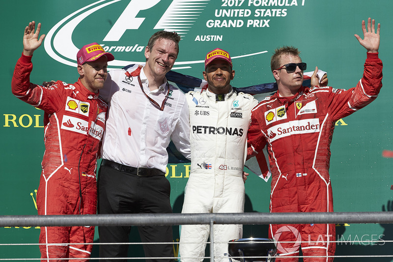 Podio Austin 2017: Sebastian Vettel, Ferrari, James Allison, Lewis Hamilton, Mercedes AMG F1, Kimi Raikkonen, Ferrari