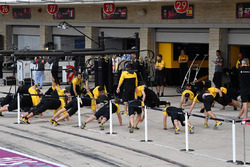 Renault Sport F1 Team mechanics warm up excercises