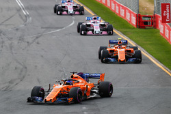 Fernando Alonso, McLaren MCL33 Renault, leads Stoffel Vandoorne, McLaren MCL33 Renault, Sergio Perez, Force India VJM11 Mercedes, and Esteban Ocon, Force India VJM11 Mercedes