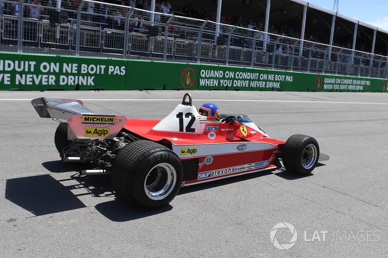 Jacques Villeneuve, Sky Italia, guida la Ferrari 312T3 1978 del padre, vincitrice nel GP del Canada