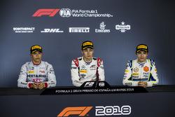 Second place Nyck De Vries, PREMA Racing, race winner George Russell, ART Grand Prix, third place Lando Norris, Carlin