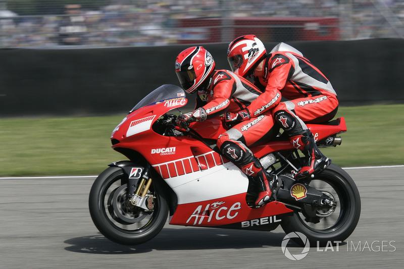 Ducati-Doppelsitzer: Randy Mamola, Michael Schumacher