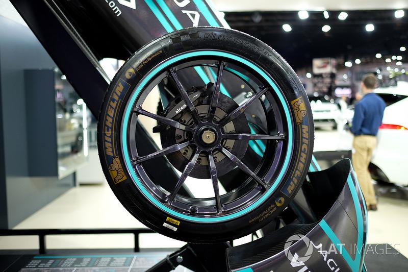 Jaguar Racing Formula E car wheel detail