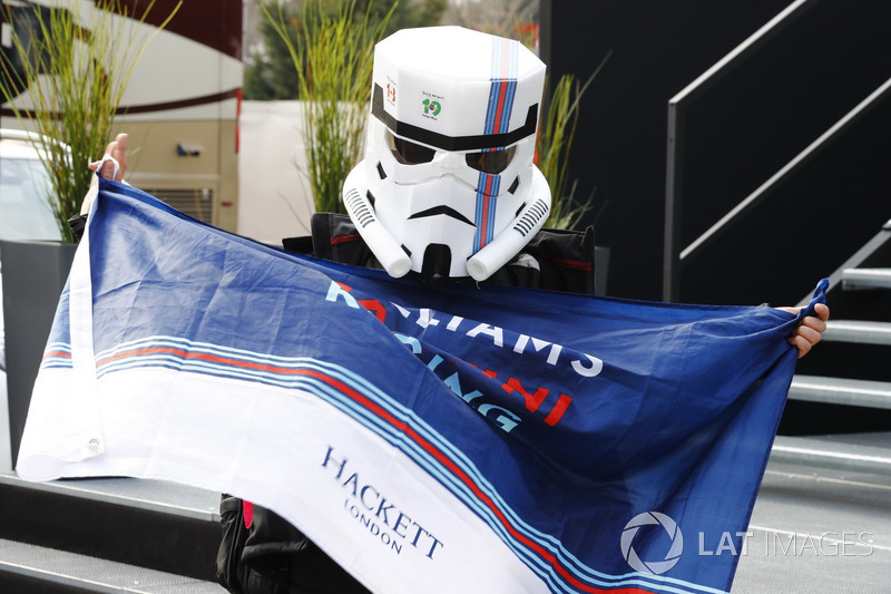 A highly committed Williams fan in fancy dress