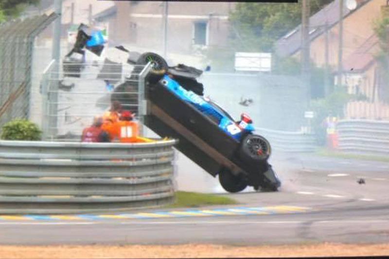 #47 Cetilar Villorba Corse Dallara P217 Gibson: Roberto Lacorte, Giorgio Sernagiotto, Felipe Nasr, incidente
