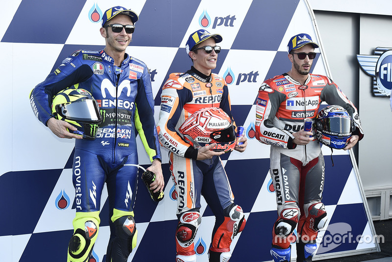 Володар поул-позиції Марк Маркес, Repsol Honda Team, друге місце Валентино Россі, Yamaha Factory Racing, третє місце Андреа Довіціозо, Ducati Team