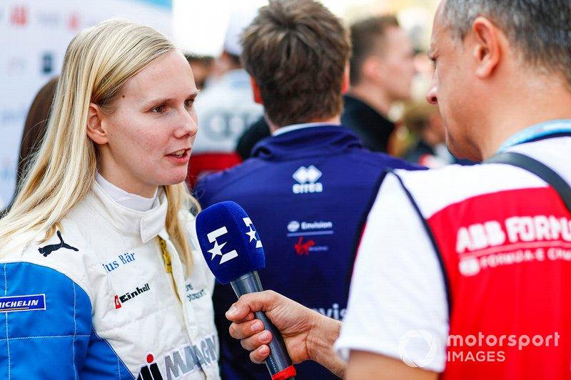 Beitske Visser, BMW I Andretti Motorsports., talks to the press